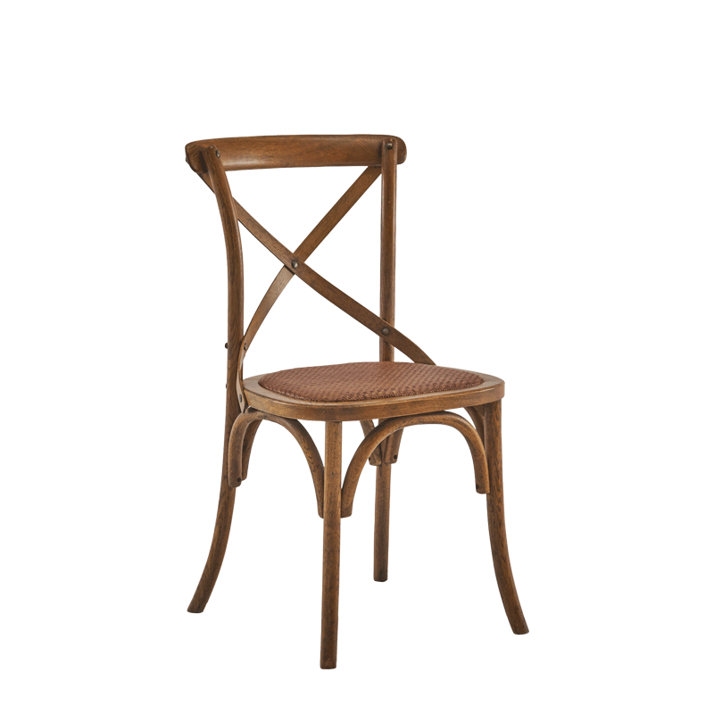 Coco Chair in Natural Wood with Cane Work Seat Pad