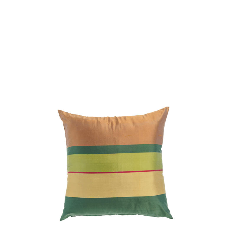 Brown Cushion with Green Stripes