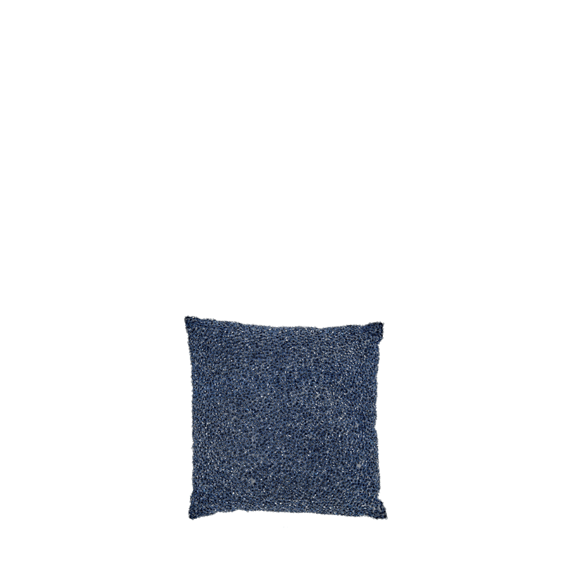 Blue Silk Cushion with Beads