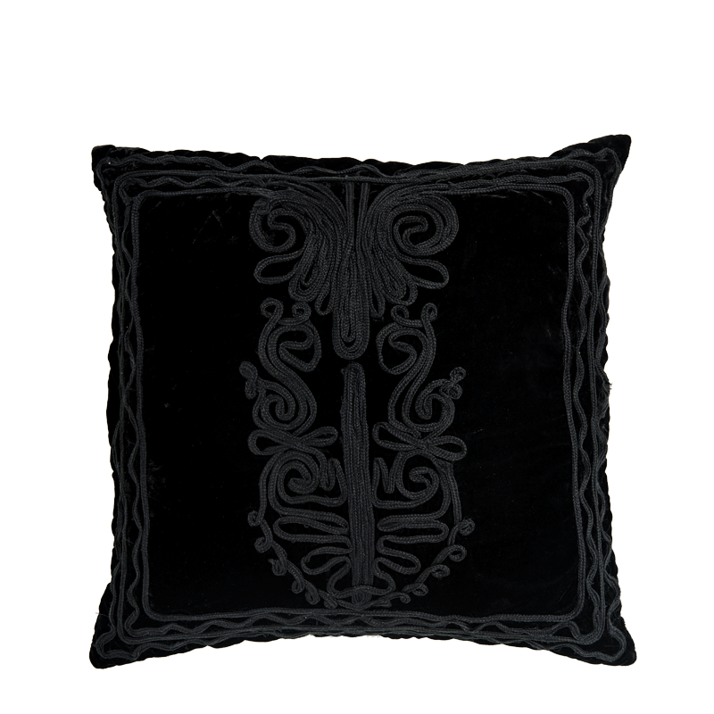 Black Velvet Cushion with Dehli Design