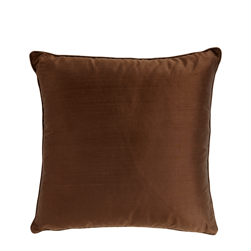 Brown Satin Cushion with Piped Edges
