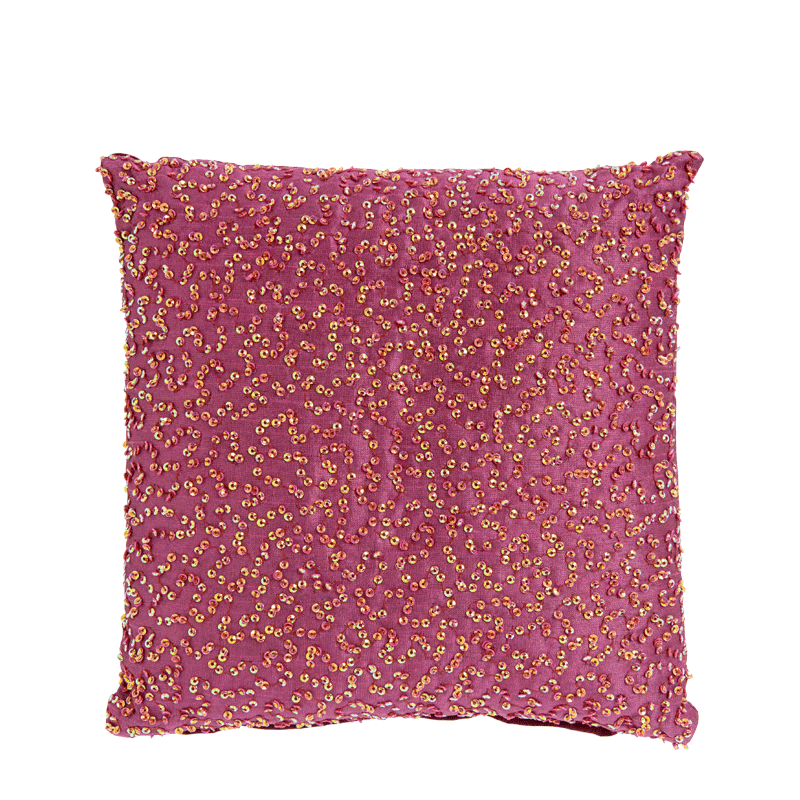 Pink Silk Cushion with Multi Coloured Sequins