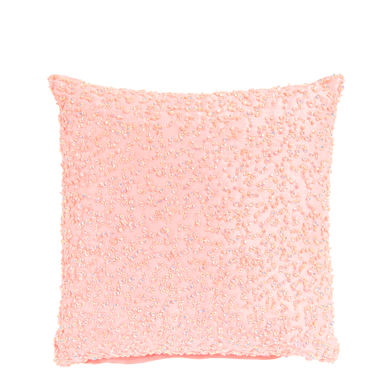 Pale Pale Pink Silk Cushion with Multi Coloured Sequins