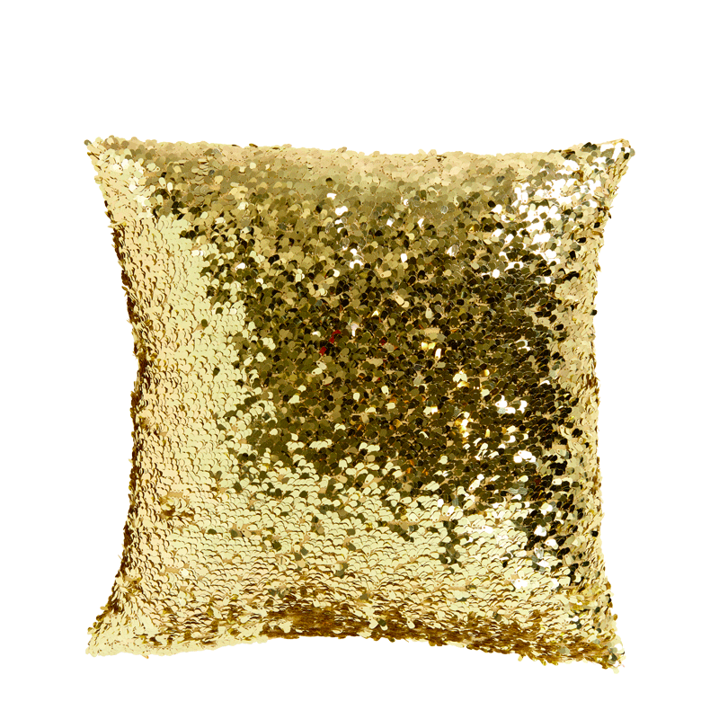 Gold Sequined Square Cushion