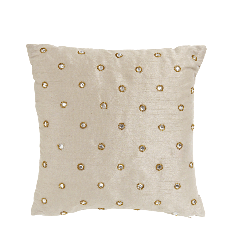 Ivory Silk Cushion with Round Sequin