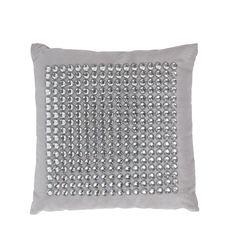 Taupe Silk Cushion with Silver Jewels