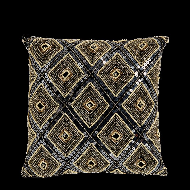 Grey Cushion with Geometric Sequin