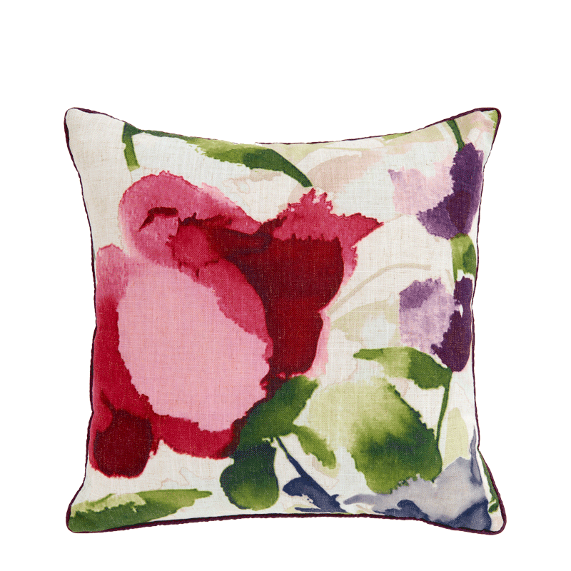 Cushion with Watercolour Floral Print