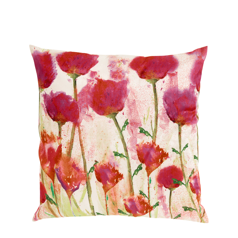 Cushion with Pink Flower Print
