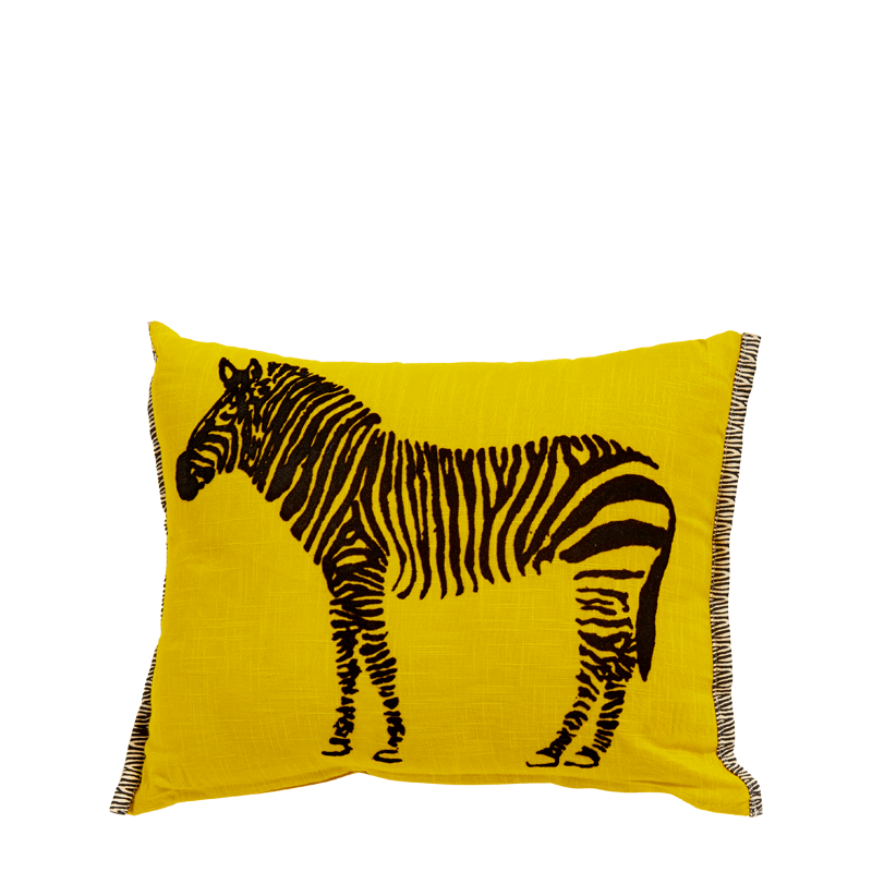 Yellow Cushion with Zebra Print