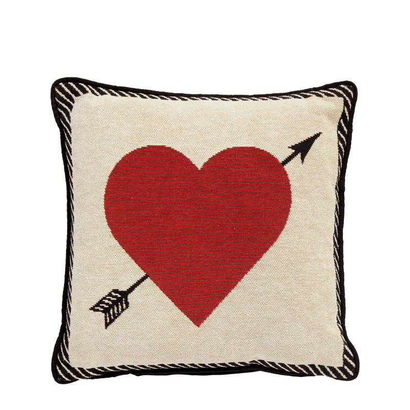 Cushion with Red Heart Print