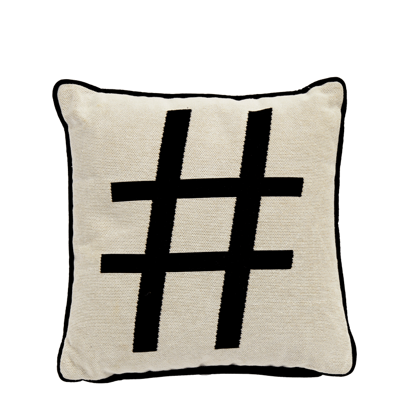Cushion with Hashtag Print