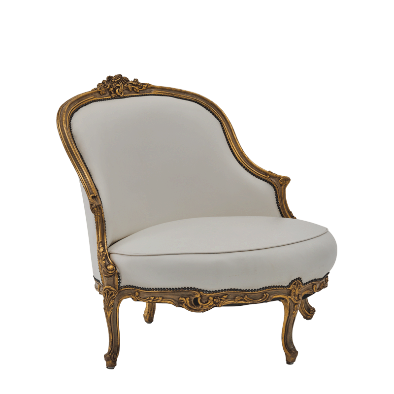 Leroy Armchair in white leather