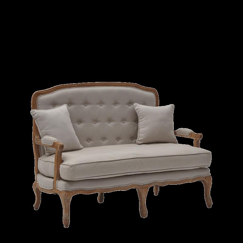 Paris Settee Sofa in Oak upholstered in Linen