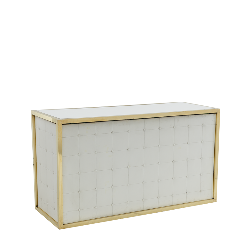 Unico Bar with Gold Frame and White Upholstered Panels