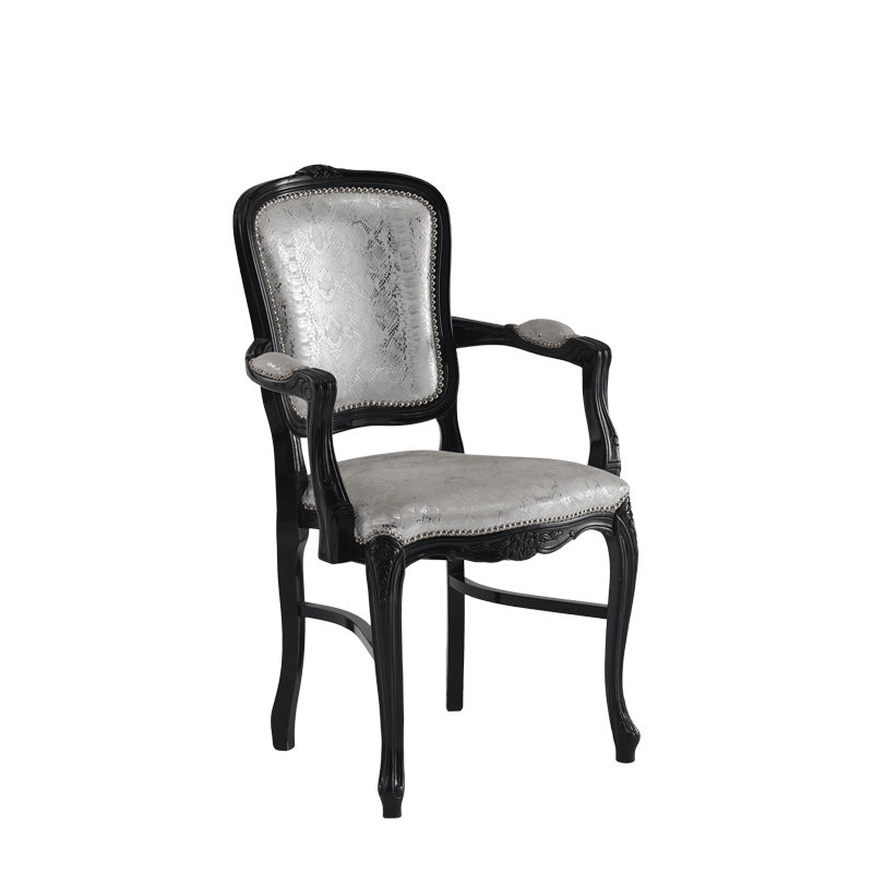 Versailles Armchair in Black with Silver Seat Pad