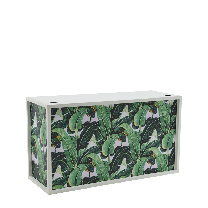 Unico DJ Booth with White Frame and Palm Leaf Print Panels