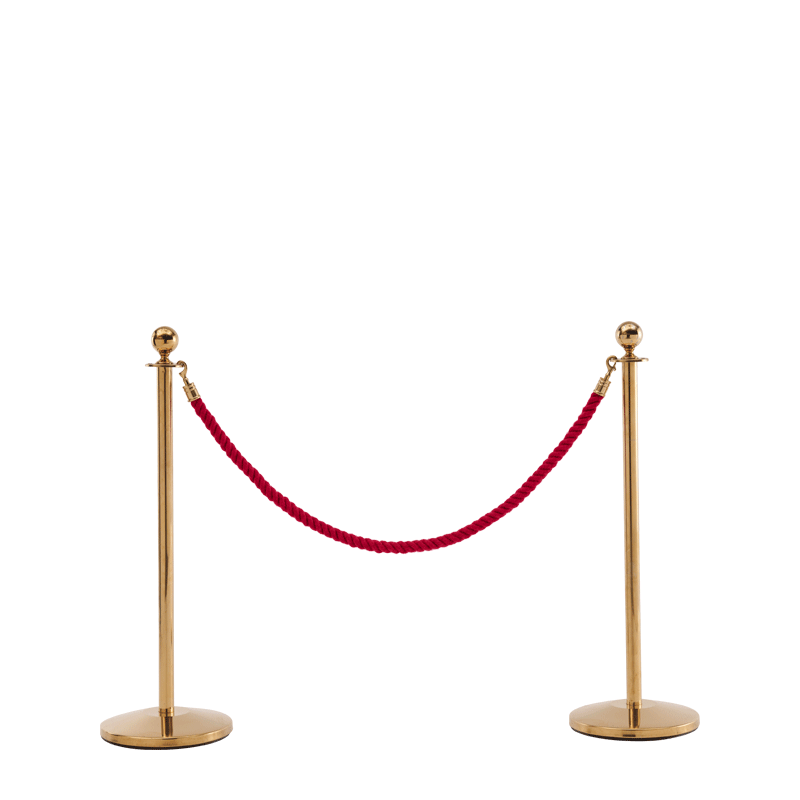 Stanchion in Gold Brass with Pink Rope