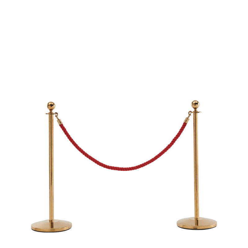 Stanchion in Gold Brass with Red Rope