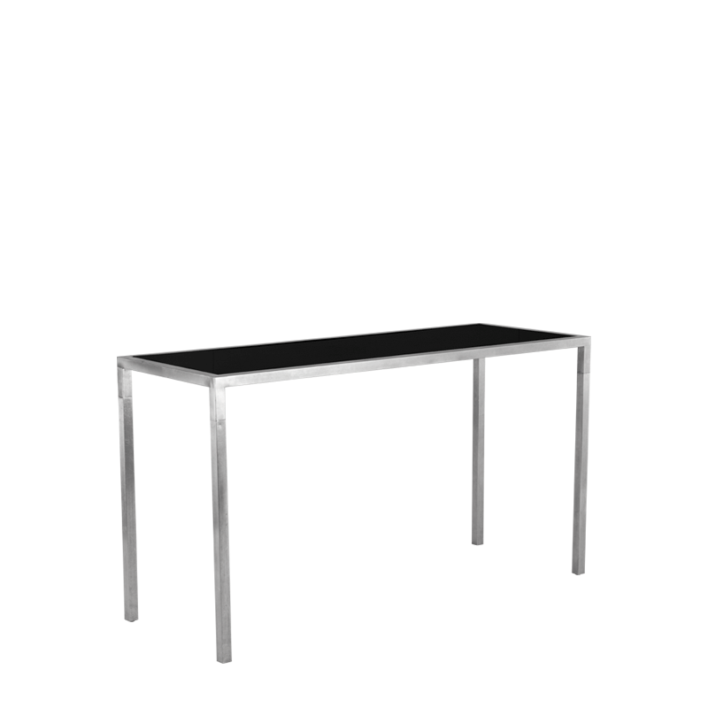 Unico Rectangular Poseur Table with Stainless Steel Frame