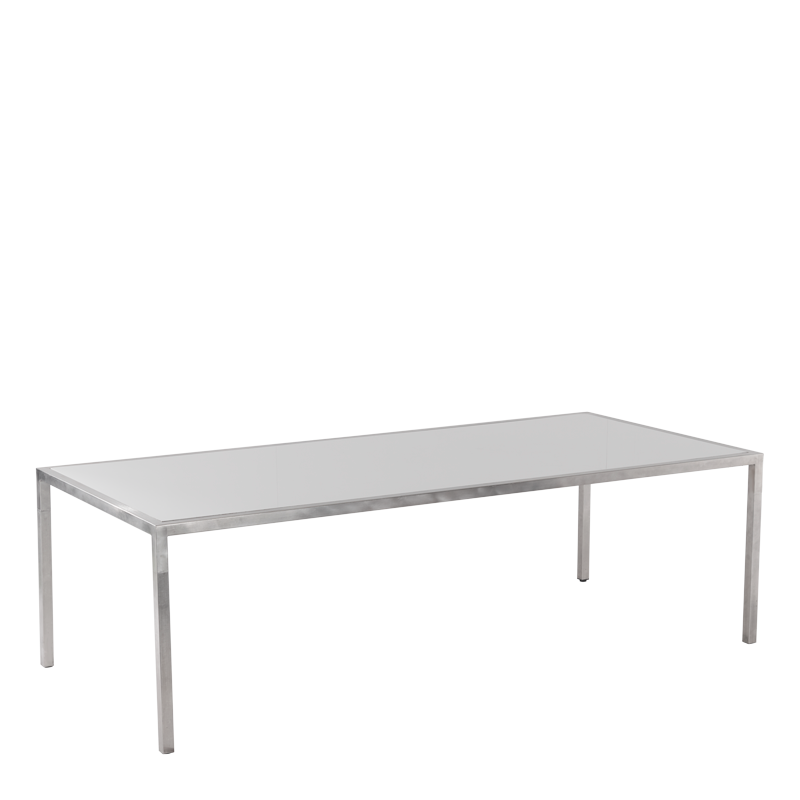 "Unico 8""x4"" Dining Table with Stainless Steel Frame"
