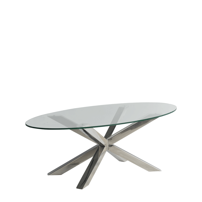 Cognac Coffee Table in Chrome