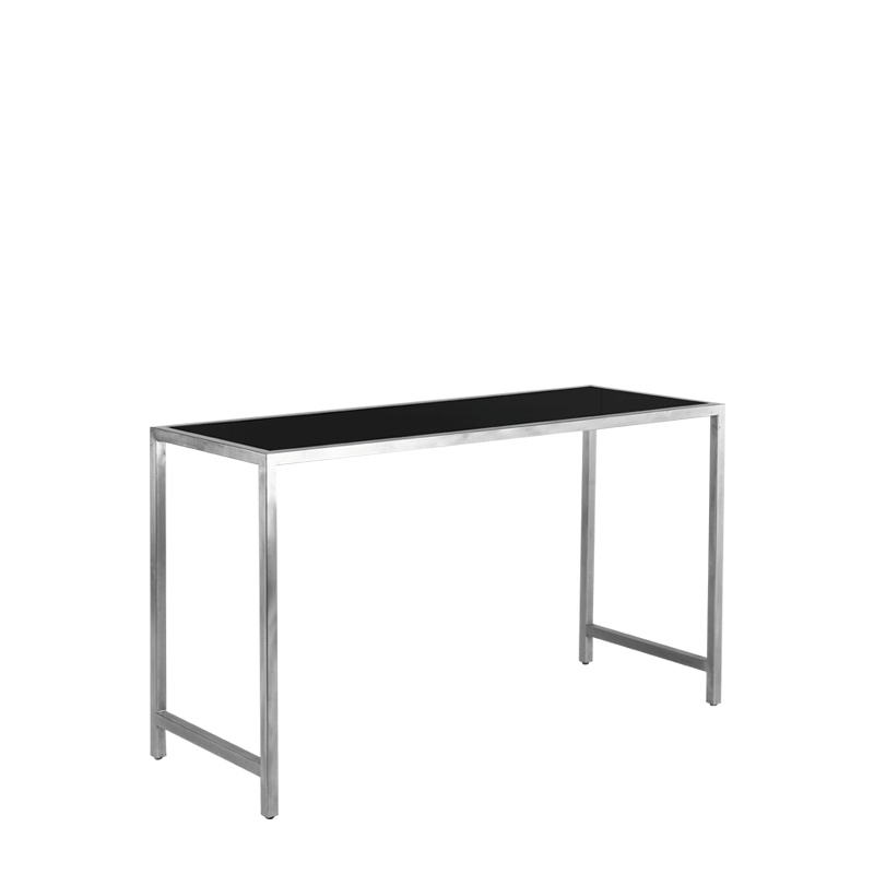Unico Rectangular Fixed Poseur Table with Stainless Steel Frame