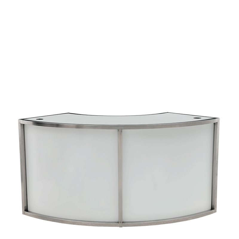 Unico Curved DJ Booth with Stainless Steel Frame