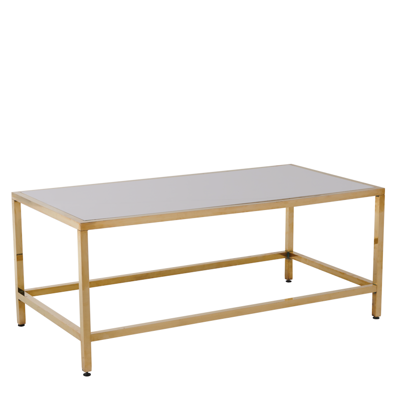 Unico Rectangular Coffee Table with Gold Frame