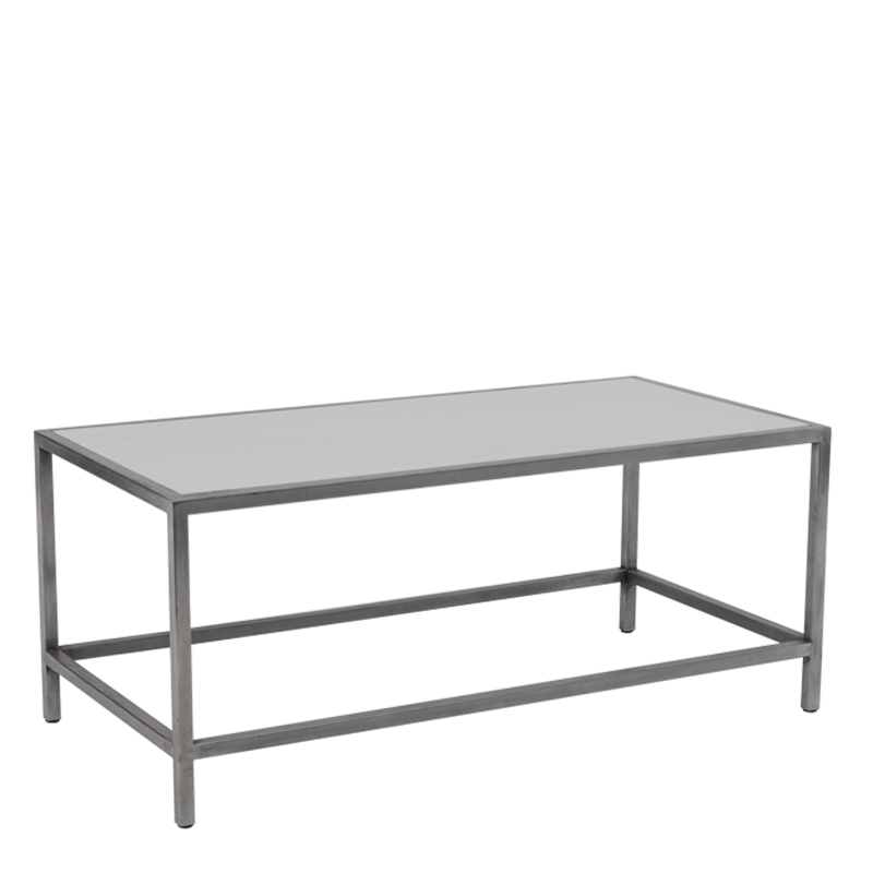 Unico Rectangular Coffee Table with Stainless Steel Frame
