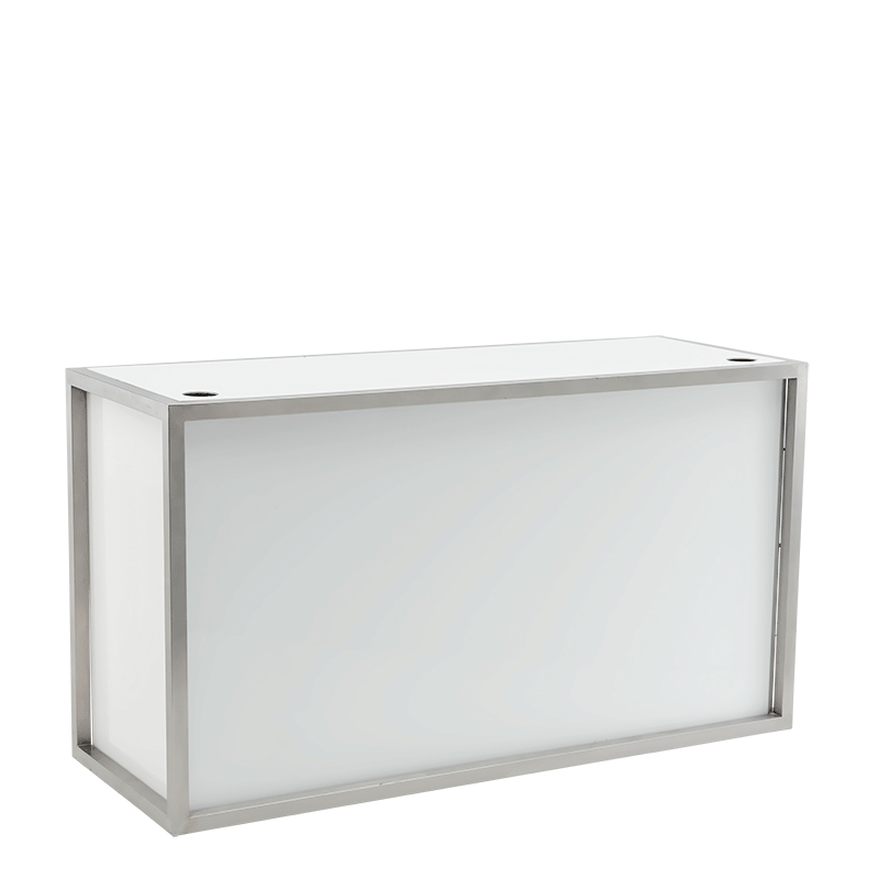 Unico Rectangular DJ Booth with Stainless Steel Frame